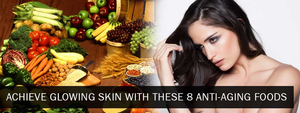 Anti aging foods with pretty model